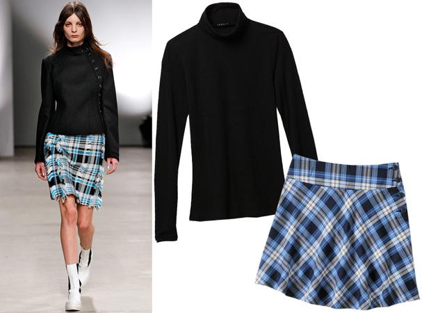 Crna rolka i karirana suknja
