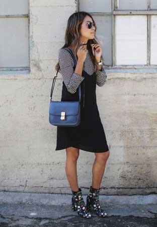 Prugasta bluza, crna haljina