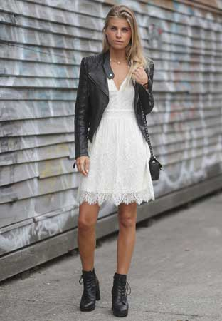 Kožna jakna, bela haljina