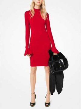 crvena haljina sa zvono rukavima