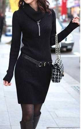 crna dzemper haljina