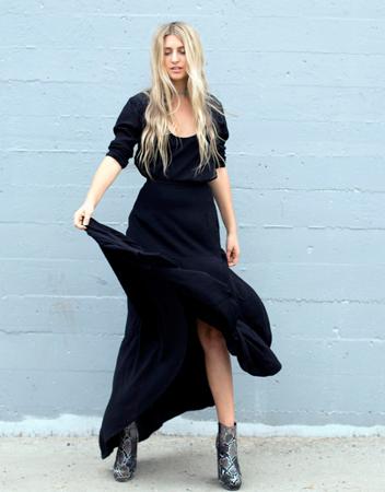 boho stil oblačenja maksi crna haljina