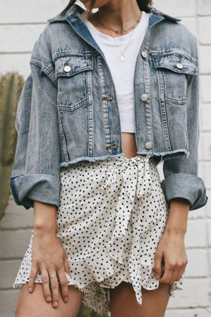 kratke teksas jakne - mini tufnasta suknja